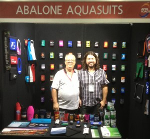 Jim & Simon Barany in their Abalone Aquasuits stall.