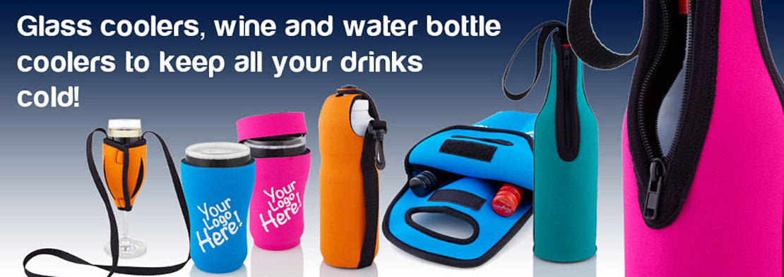 Glass coolers, wine and water bottle holders to keep all your drinks cold!